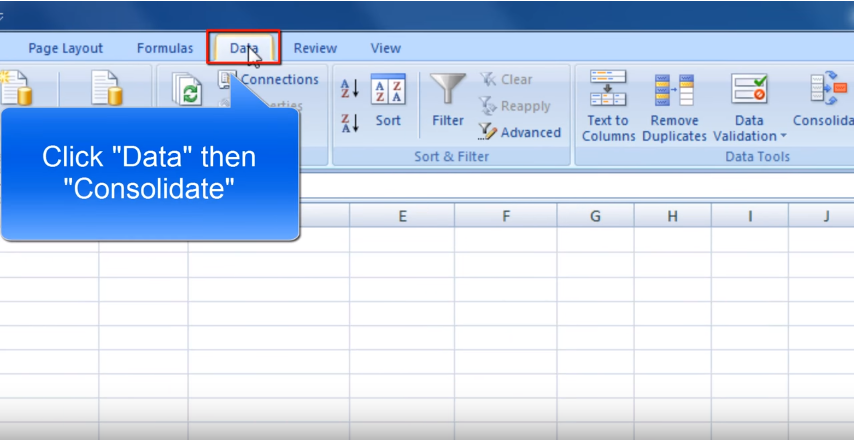 Step 6 for merging spreadsheets in excel 2018