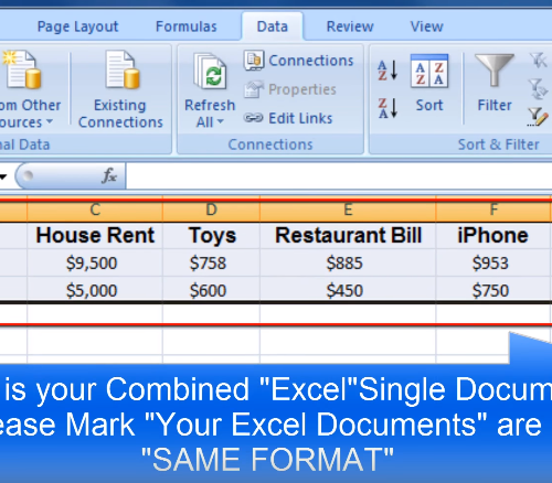 Success in merging excel spreadsheets
