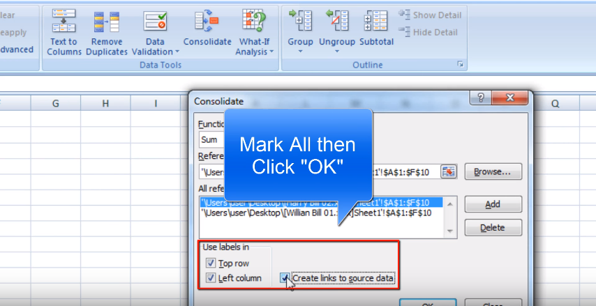 Step 7 for merging excel spreadsheets effectively